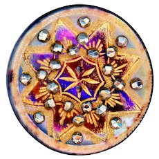 Button--Vivid Mid-19th C. Engraved Gilded Carved 8-ray Star Pearl with Brilliant Cut Steels