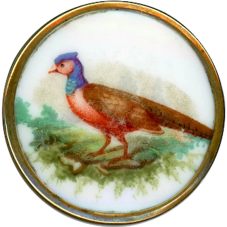 Button--Large Mid-19th C. Polychrome Transfer Porcelain Pheasant in Field in Brass
