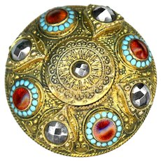 Button--Large Domed 19th C. Fancy Stamped Brass with Enamel Medallions & Cut Steels