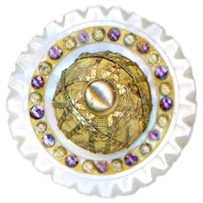 Button--18th C. Georgian Purple Paste and Wire Work on Carved Pearl--Medium