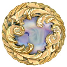 Button--Large Rococo Heavy Gilded Brass and Art Glass Jewel