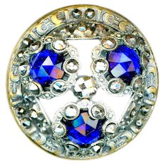 Button--Large Domed Late 19th C. Cobalt Blue Glass Jewels in Brass and Cut Steels