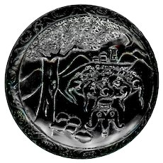 Button--Rare Fable--Huge Black Horn Mice in Council--Who Will Bell the Cat?