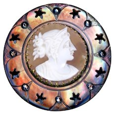 Button--Very Fine Mid-19th C. Large Shell Cameo in Pierced and Trimmed Pearl
