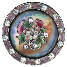 Button--Large Complex Iridescent Pearl with Jeweled Enamel Border and Floral Escutcheon