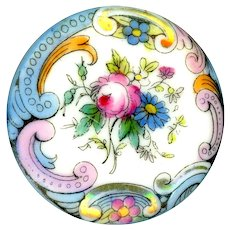 Button--Large Hand Painted Rose & Forget-me-not Transfer Porcelain