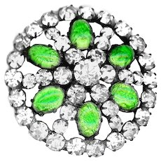 Button--Exquisite Foil Glass Cabochons & Rhinestones in Brass Jewel--Medium