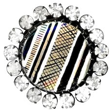 Button--Large 19th C. Gold, Silver, and Black Linear Criss-cross Design Under Glass Plus