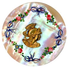Button--Mid-19th C. Hand Painted Pearl with Brass Roman Warrior Head Escutcheon