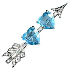 Brooch--Vintage 1940s Boucher Sparkly Sterling Silver Arrow with Two Aqua Hearts