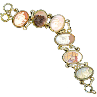 Bracelet--Vintage Hand Carved Shell and Pearl Cameo Scenes in Gold-fill