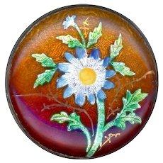 Button--Very Fine Late 19th C. Cut Foil Enamel in Brass--Medium