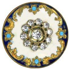 Button--Large Late 19th C. Rococo Enamel and Rhinestone Rosette Escutcheon