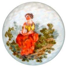 Button--18th C. Georgian Mennecy Porcelain Scene of Rustic Girl
