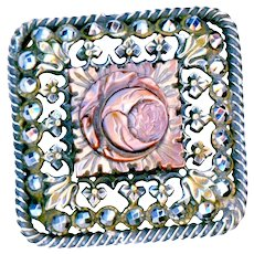 Button--Mid-19th C. Carved Cameo Pearl Rose Square in Concentric Borders