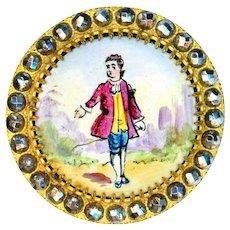 Button--Large 19th C. Ubiquitous Enamel Nut Tree Boy in Cut Steel