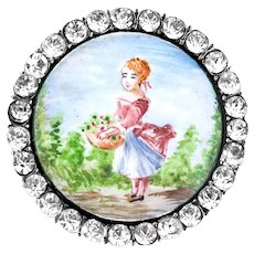 Button----Very Fine Large 19th C. Hand Painted Enamel Flower Girl in Silver & Rhinestone Border