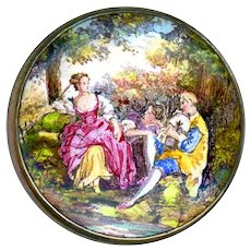 Button--Large Emaux Peints Enamel Pastoral Scene of Gentleman and Ladies