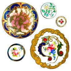 Buttons--5 Late 19th C. Enamel Posies on Brass--Medium to Small