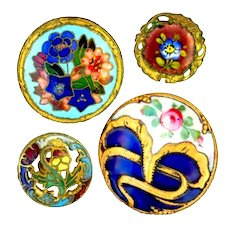 Buttons--Four Late 19th C. Champleve Enamel Florals with Open Pansy--Medium to Small
