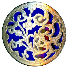 Button--Large Late 19th C. Gilded Engraved Brass Floral Overlay on Cobalt Blue Glass
