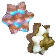 Button--Rare Vintage Diminutive Compound Saphiret Glass Flower Rosette