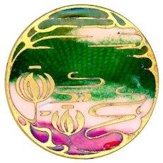 Button--Late 19th C. Champleve Basse Taille Enamel Art Nouveau Water Lilies