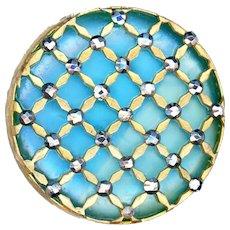 Button--Large Intermixed Art Glass Under a Brass and Cut Steel Lattice