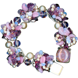Bracelet--Vintage Rousselet Bracelet in Pink, Purple, Glass Pearl, and Opalescent Blue