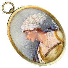 Fine Georgian Miniature Portrait Under Glass in Gold Plated Brass--Mother