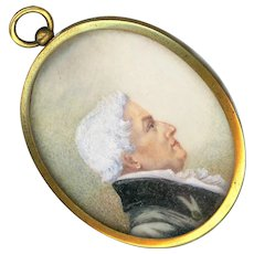 Fine Georgian Miniature Portrait Under Glass in Gold Plated Brass--Father
