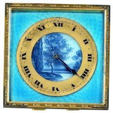 "Travel Clock--Art Deco Period Enamel Face with ""Flow Blue"" Nature Scene"