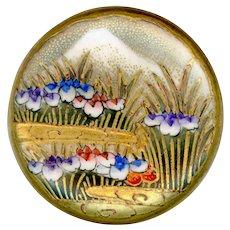 Button--Fine Late 19th C. Satsuma Irises and Mt. Fujiyama