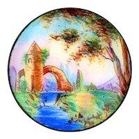 Button--Uncommon 18th C. Georgian Hand Painted Enamel Scene of Bridge & Folly