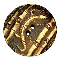 Button--Vintage Medium Size Buffed Celluloid Lizard in Bamboo