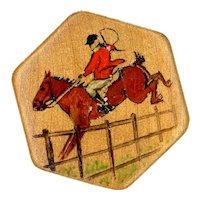 Button--Vintage Hexagonal Wood with Hand Painted Equestrian Scene