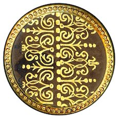 Button--Late 19th C. Gold Embossed Leather in Brass Paris Back Medium
