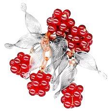 Brooch--Vintage Selenium Red Glass Berries and Crystal Pate de Verre Leaves