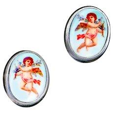 Earrings--Modern Enamel Cherubs on Sterling Silver