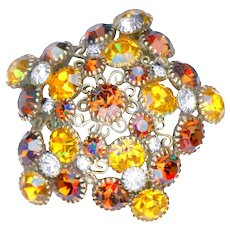 Brooch & Earrings--Large Vintage 1960s Signed Hobe Star