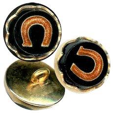 Button--ONE Weskie--3 Views--Precision Inlay Aventurine Horseshoe in Black Glass
