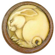 Button--Vintage Celluloid-Ivoroid Bunny Stuck in Wood Barrel--Medium