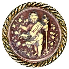 Button--Large Late 19th C. Celluloid-ivoroid Naked Putto Harvesting Tomatoes--Medium