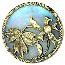 Button--Large Late 19th C. Iridized Clambroth Glass Under Brass Flora-foliate
