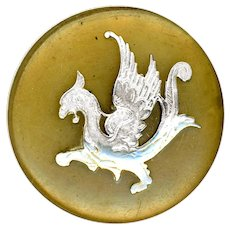 Button--Large 19th C. Blond Horn with Silver Inlay Mythical Winged Beast