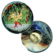 Button--Small Pictorial Victorian Colorful Black Glass Marsh Bird