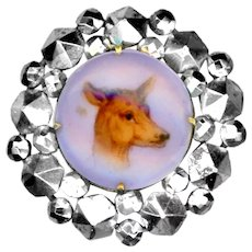 Button--19th C. Hand Painted Porcelain Doe in Varied Shape Cut Steels--Medium
