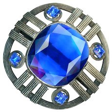 Button--Extra Large Early 20th C. Silvered Brass and Gorgeous Blue Glass Jewels