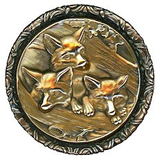Button--Very Large 19th C. Two-part Brass Three Fox Pups in Hollow Log