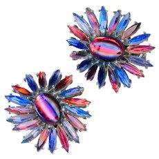 Earrings--Vintage 1960s Huge Purple & Blue Glass Star Bursts--No Name